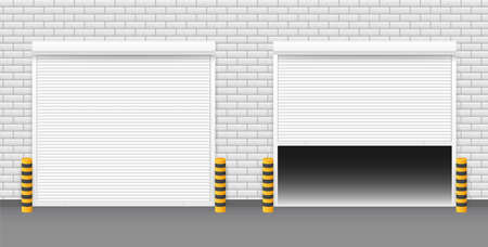 Vector Door with Rolling Shutters on white background. Vector illustration. Illusztráció