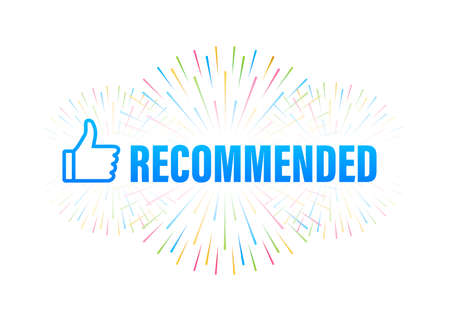 Recommend icon. White label recommended on blue background. Vector stock illustration. Illusztráció