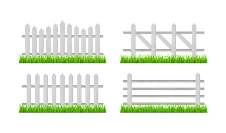 Wooden fence and grass. Vector stock illustration. Banque d'images - 161674939
