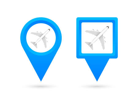 Airport pin for concept design. Pin point icon. Map symbol. Location, pointer icon symbol design