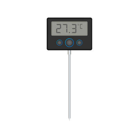 Kitchen or laboratory thermometer. Food temperature. Vector stock illustration. 矢量图像