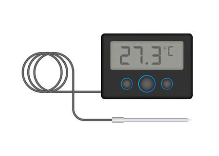 Kitchen or laboratory thermometer. Food temperature. Vector stock illustration. Illusztráció