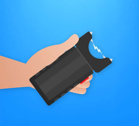 Cartoon stun gun. Protection symbol. Vector stock illustration.