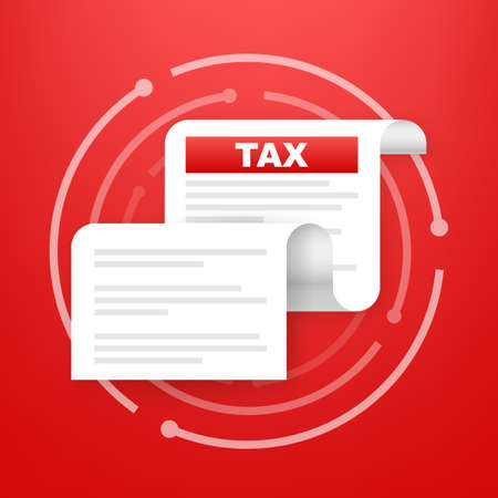 Taxation icon isolated. A simplified tax form. Unfilled, minimalistic form of the document. Vector illustration. Banque d'images - 161675020