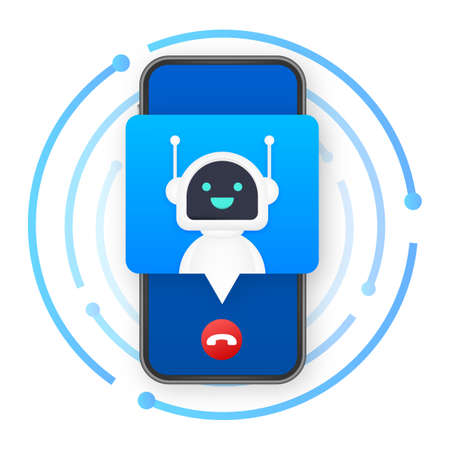Business card with robo call. Mobile phone. Robo call. Cpam. Vector stock illustration. 矢量图像