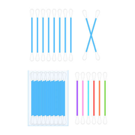 Cotton buds, great design for any purposes. Health care. Vector stock illustration.
