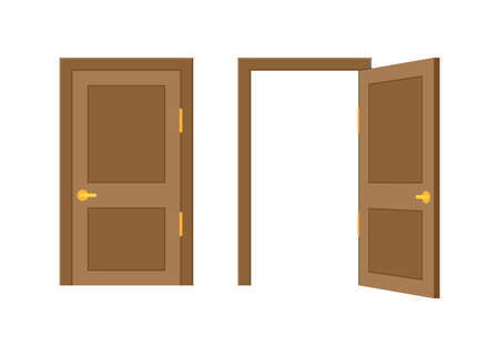 Open end closed door. Interior design. Business concept. Front view. Home office concept. Business success. Illusztráció
