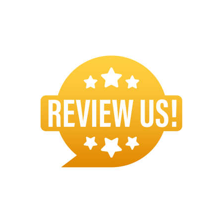 Review us User rating concept. Review and rate us stars. Business concept. Vector illustration Illusztráció