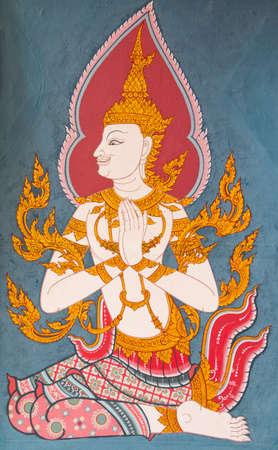 Old Thai style art painting on temple photo