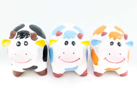 funny ox: Hardened clay smile Cow  on White