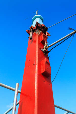 gaff: Detail shot of sailing front boat foremast  in Thailand