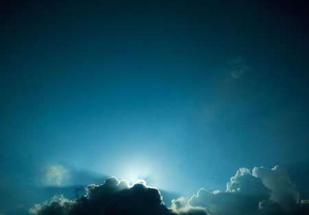 Sunset under clouds photo