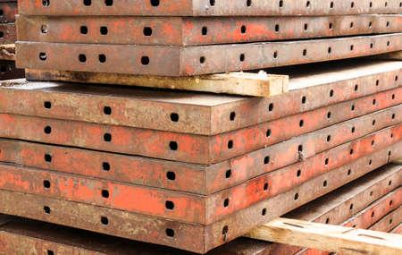 metal structure: Construction site. Steel structure metal girders skeleton Stock Photo