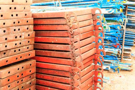 girders: Construction site. Steel structure metal girders skeleton Stock Photo