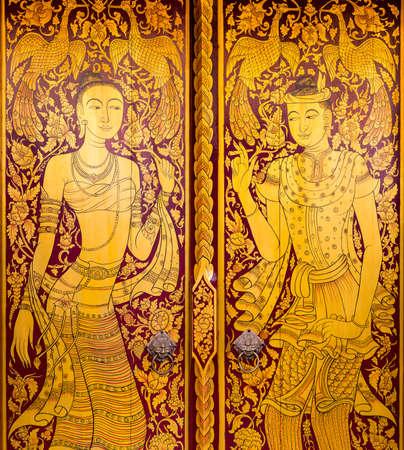 art door: Closed Thai art door in public temple