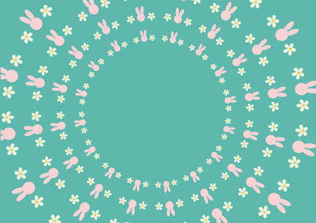 Wallpaper green have pink bunny and white flowers by the side. Can be utilized in various media.