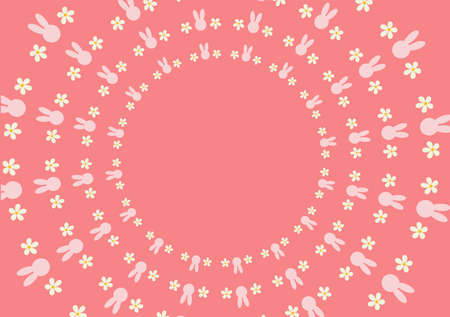 utilized: Wallpaper pink bunny and white flowers by the side. Can be utilized in various media. Illustration