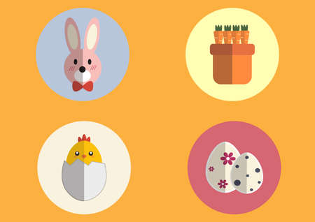 Wallpaper mastic Carrot, orange and pink bunny basket with Easter eggs and Easter egg different. Can be utilized in the media.