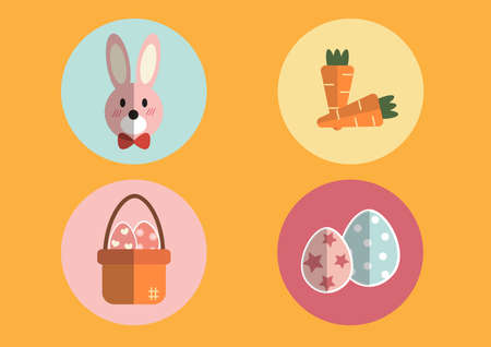 Wallpaper mastic Carrot orange and pink bunny basket with Easter eggs and Easter egg different. Can be utilized in the media. Illustration