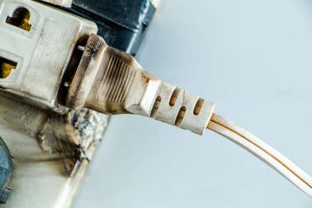 Many old damage plug on socket. Stock Photo
