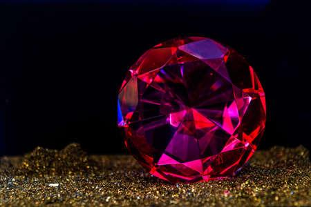 Fine luxury rose diamond. Jewelry decoration on the dark background.
