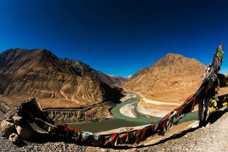 Sangam Indus and Zanskar Rivers meeting in Leh Ladakh photo