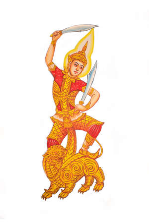 Art Thai Painting On Wall In Temple isolate photo