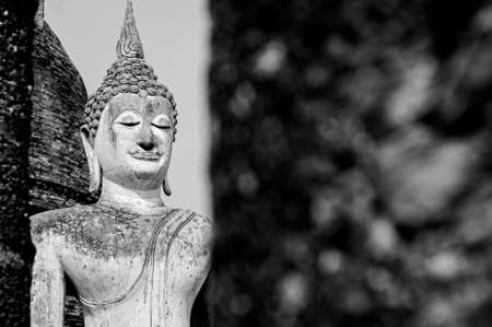 statuary: Black and White Buddha statue Sukhothai, Thailand