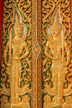 wood carving door: wood carving door decorated in the temple