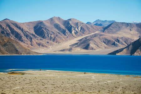 ladakh: Pangong Lake Leh Ladakh ,India - September 2014 Stock Photo