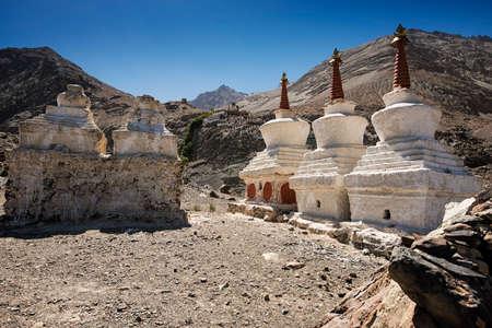 stupas: Buddhist stupas in Diskit Monastery, Ladakh, India - September 2014