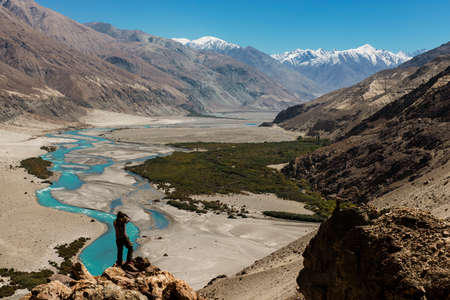 Shyok river in Nubra valley Ladakh ,Jammu & Kashmir, India - September 2014 photo