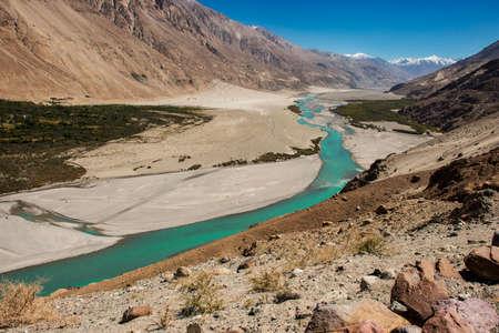 Shyok river in Nubra valley Ladakh ,Jammu & Kashmir, India - September 2014 photo