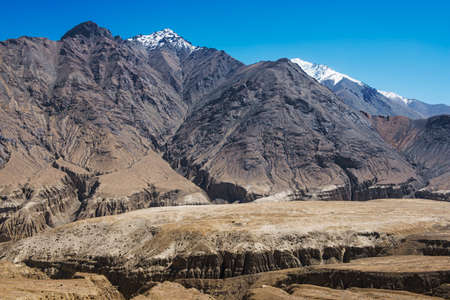 amazing black mountain and desert ,Leh-Nubra Valley Rd. Ladakh ,India photo