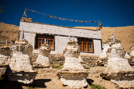 tibetan house: Tibetan House and Stupa in Jammu-Kashmir Ladakh ,India - September 2014 Stock Photo