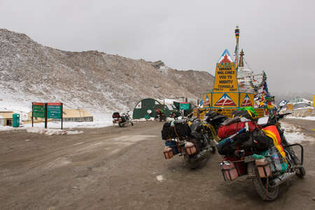 roadtrip: LADAKH,INDIA - SEPTEMBER 2014 : Motorcycle roadtrip at Chang La Pass, the third highest driveable mountain pass in the world 5300m. above sea level, Ladakh, jammu & kashmir, India