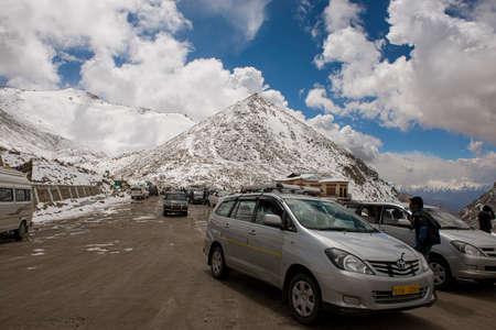 roadtrip: LADAKH,INDIA - SEPTEMBER 2014 : Caravan roadtrip at Chang La Pass, the third highest driveable mountain pass in the world 5300m. above sea level, Ladakh, jammu & kashmir, India