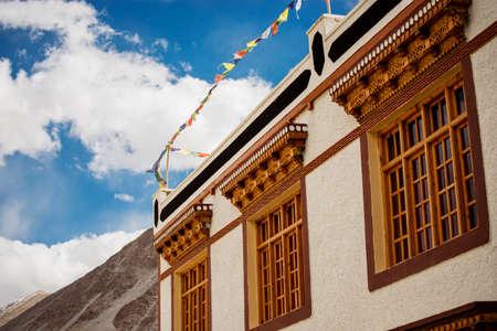 tibetan house: Tibetan House and blue sky in Jammu-Kashmir Ladakh ,India - September 2014 Stock Photo