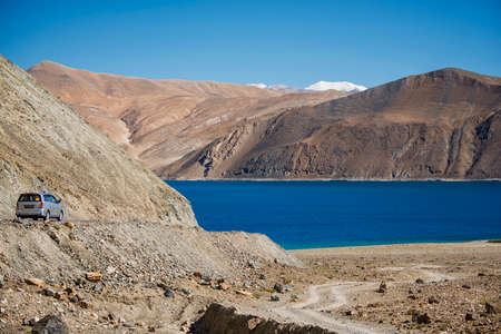 Pangong Lake, is an endorheic lake in the Himalayas situated at a height of about 4,350 m  photo