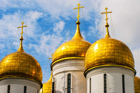 history building: church, moscow, kremlin, russian, dome, gold, russia, cross, orthodox, tower, cathedral, annunciation, travel, christian, landmark, culture, attraction, history, building, historic, blessed, architecture, tourism, religion, golden, ancient, monument, chri Stock Photo