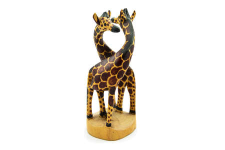 soul mate: Wooden soul mate giraffe statue isolated on white background