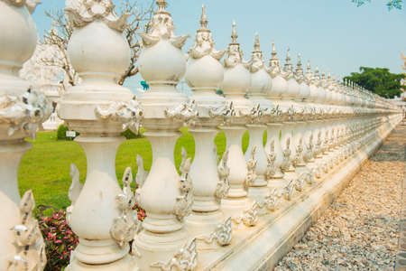 Wall conceptual sculpture decorations in Rongkhun Temple Chiangrai, Thailand. photo