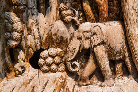 hand carved: Hand Carved Elephant Wood Craft ,Thailand.