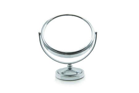 Antiguo espejo de maquillaje plata aislado en blanco Foto de archivo - 39657607