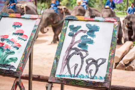 Elephant painted by elephant. Lampang Thailand. photo