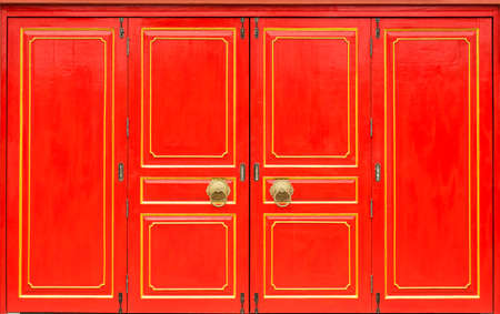 Traditional Chinese door in Chinese temple.