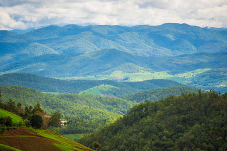 pa: Scenic view of mountain range in Pa Pong Pieng. Chiang Mai ,Thailand. Stock Photo