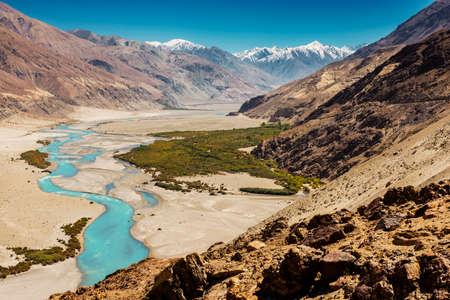 kashmir: Shyok river in Nubra valley Ladakh ,Jammu  Kashmir, India - September 2014 Stock Photo