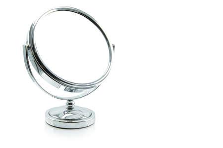 Espejo de plata aislado en blanco. Foto de archivo - 45067962