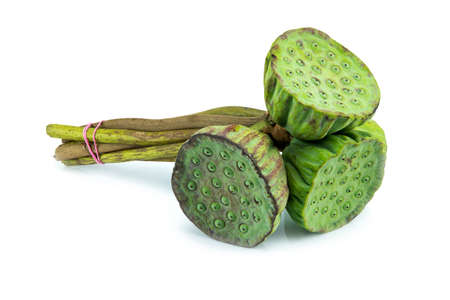 seedpod: Stack of lotus seeds for eat isolated on white.